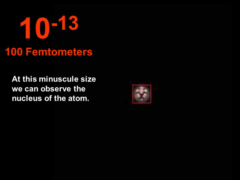 At this minuscule size we can observe the nucleus of the atom. 10 -13 100 Femtometers