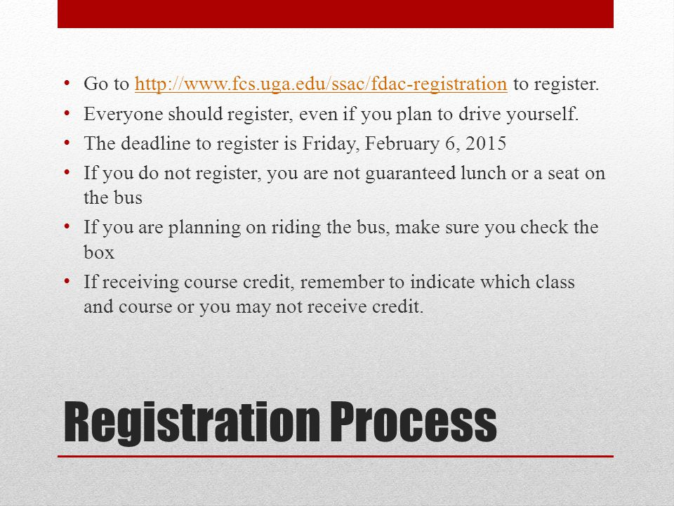 Transportation If you choose drive to yourself, you will have to pay for parking in Atlanta and still need to register online so we can include you in the count for lunch Directions to the Capitol can be found at http://www.fcs.uga.edu/ssac/fdac http://www.fcs.uga.edu/ssac/fdac If you choose to ride the bus, we will be departing form the Carlton Street side of the Georgia Center promptly at 7:30.