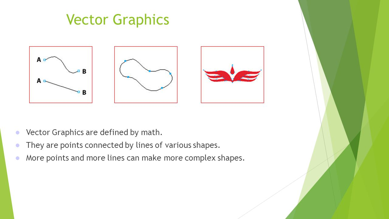 Vector Graphics Vector Graphics are defined by math. They are points connected by lines of various shapes. More points and more lines can make more co