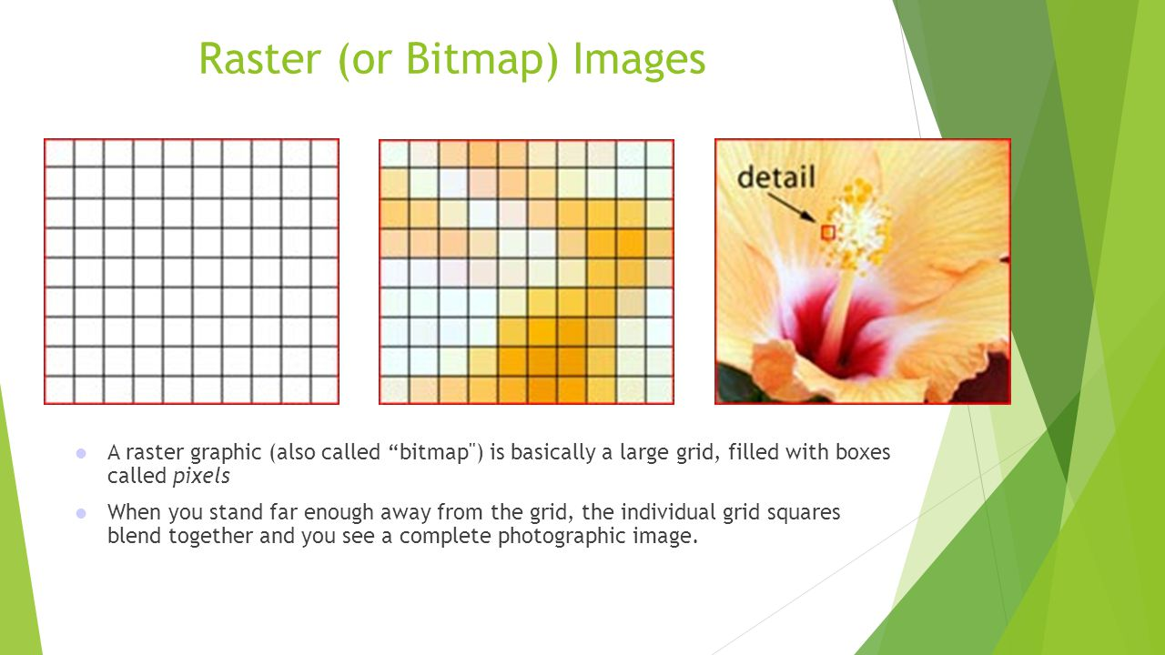 Raster Resolution  The more pixels in an image, the more accurate to the original it can be  The more pixels in an image, the higher the resolution