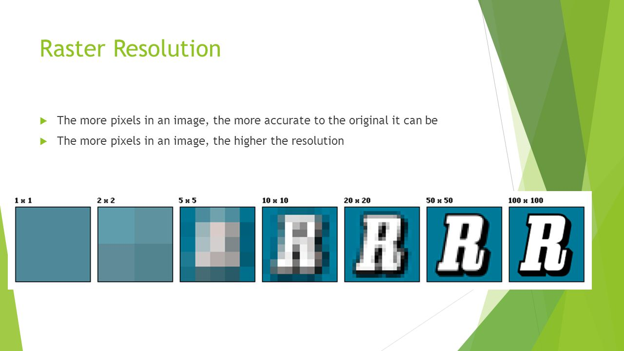 Raster Resolution  The more pixels in an image, the more accurate to the original it can be  The more pixels in an image, the higher the resolution