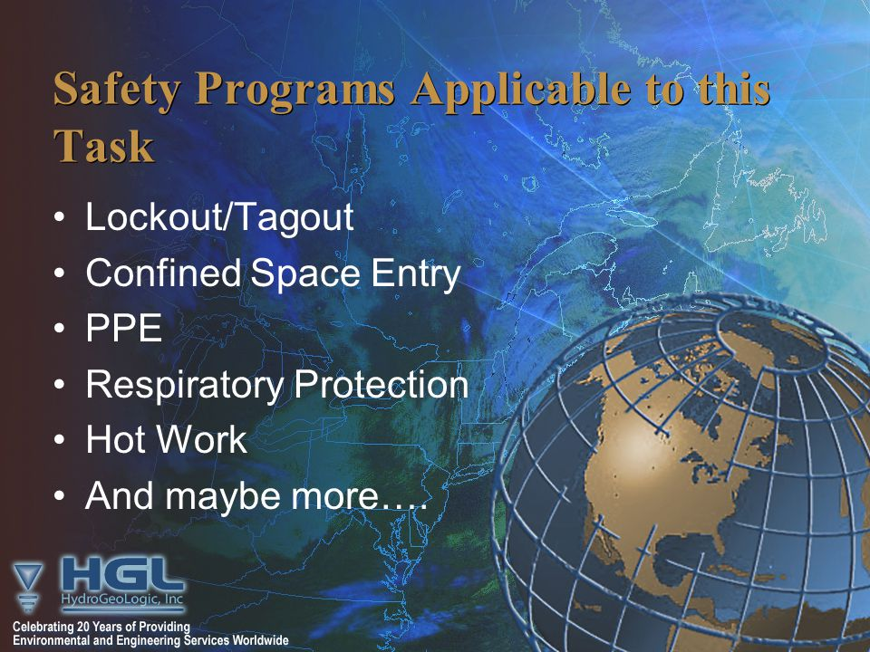 Safety Programs Applicable to this Task Lockout/Tagout Confined Space Entry PPE Respiratory Protection Hot Work And maybe more….