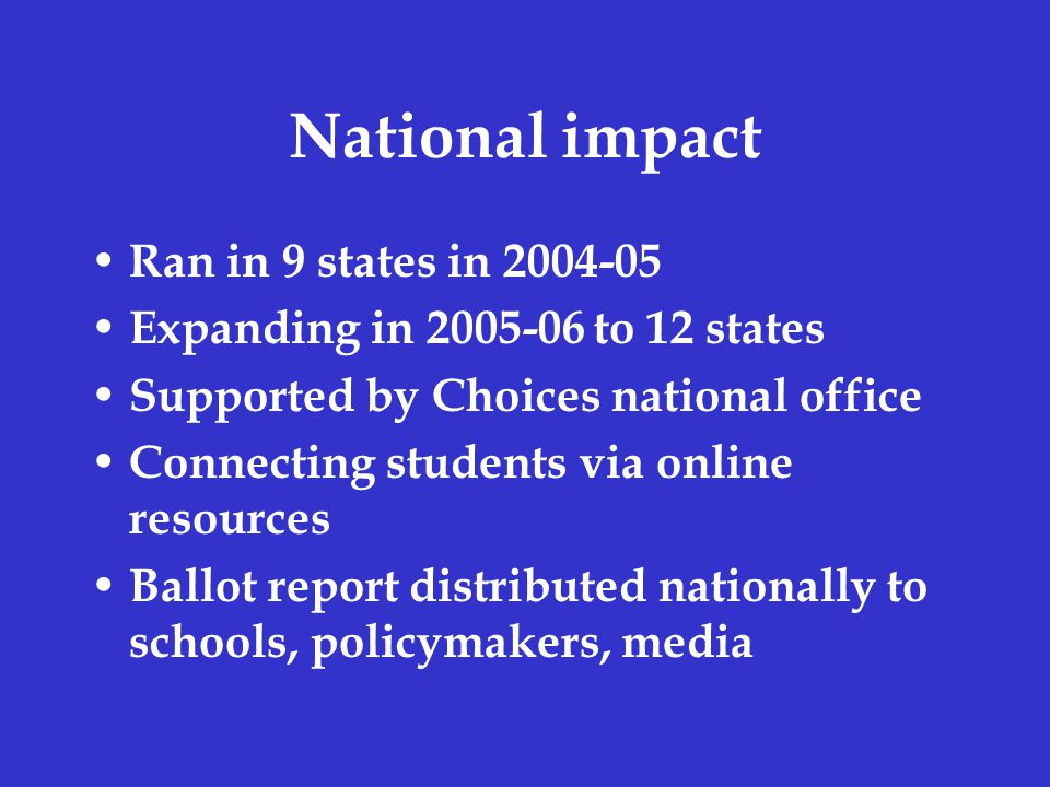 National impact Ran in 9 states in 2004-05 Expanding in 2005-06 to 12 states Supported by Choices national office Connecting students via online resources Ballot report distributed nationally to schools, policymakers, media