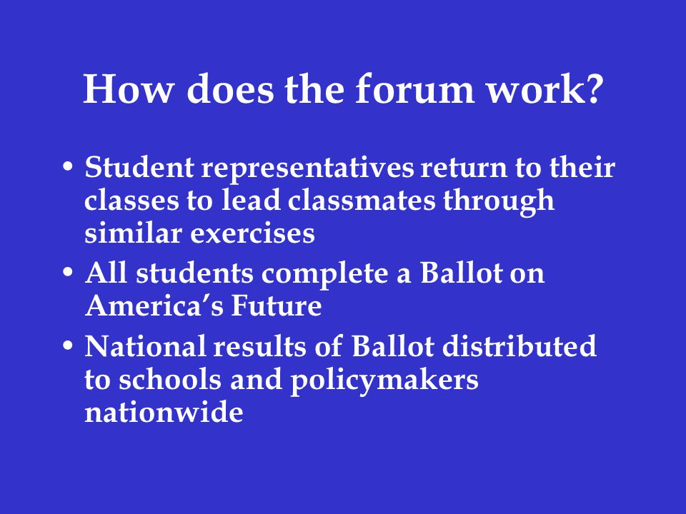How does the forum work.