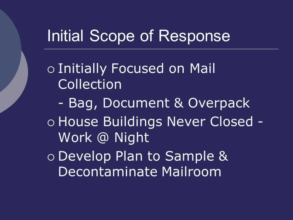 Initial Scope of Response  Initially Focused on Mail Collection - Bag, Document & Overpack  House Buildings Never Closed - Work @ Night  Develop Plan to Sample & Decontaminate Mailroom
