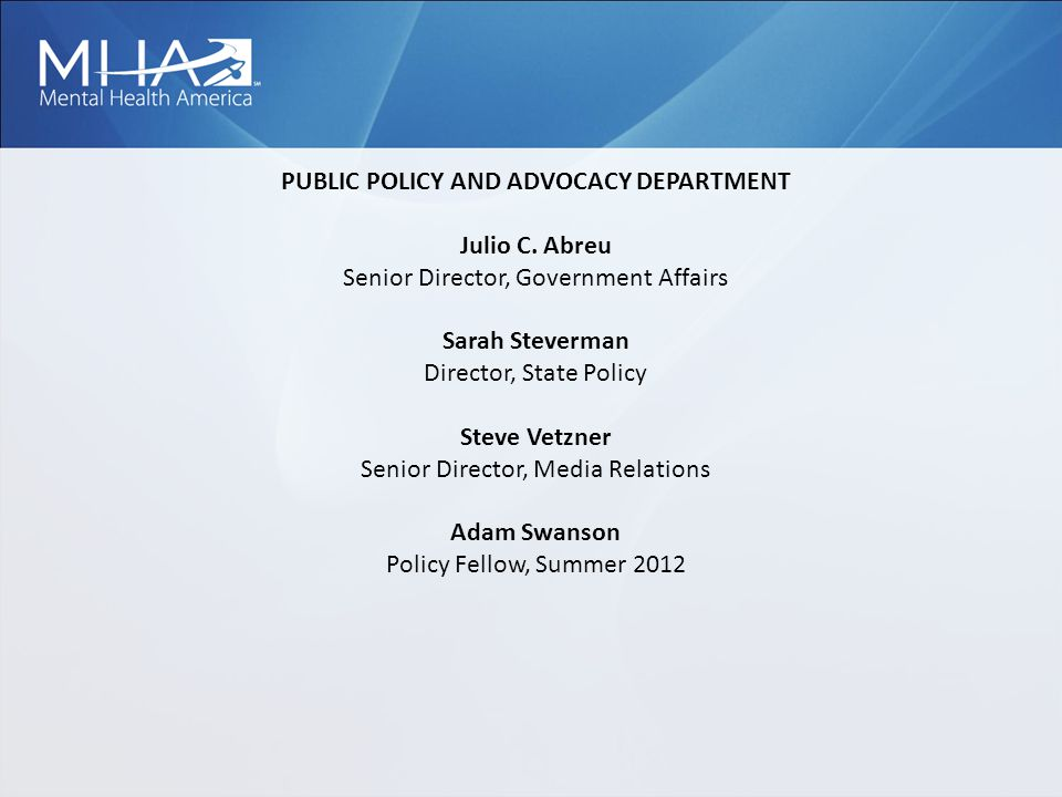 PUBLIC POLICY AND ADVOCACY DEPARTMENT Julio C.