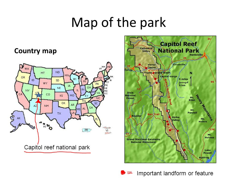 Map of the park Country map Capitol reef national park Important landform or feature