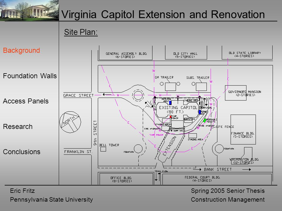 Eric Fritz Pennsylvania State University Spring 2005 Senior Thesis Construction Management Virginia Capitol Extension and Renovation Background Foundation Walls Access Panels Research Conclusions Site Plan: