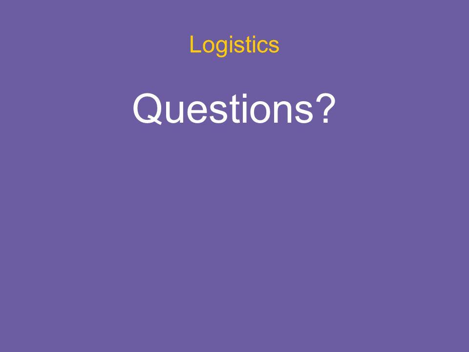Logistics Questions?