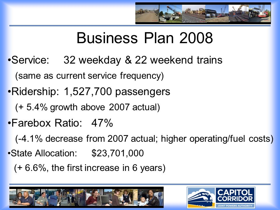 Business Plan 2008 Service:32 weekday & 22 weekend trains (same as current service frequency) Ridership:1,527,700 passengers (+ 5.4% growth above 2007 actual) Farebox Ratio:47% (-4.1% decrease from 2007 actual; higher operating/fuel costs) State Allocation:$23,701,000 (+ 6.6%, the first increase in 6 years)