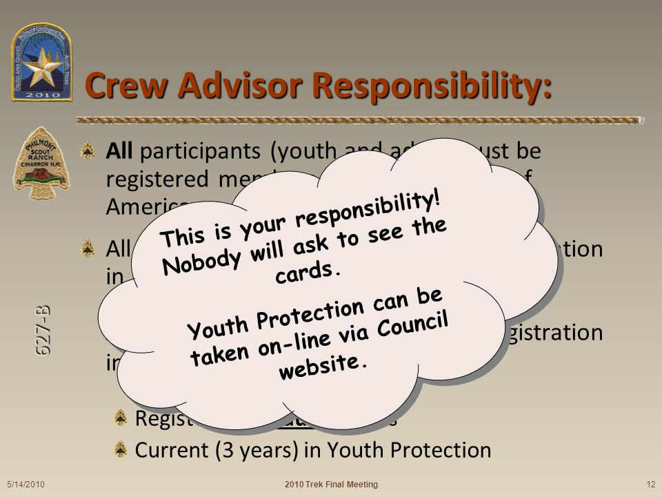 627-B Crew Advisor Responsibility: All participants (youth and adult) must be registered members of the Boy Scouts of America.