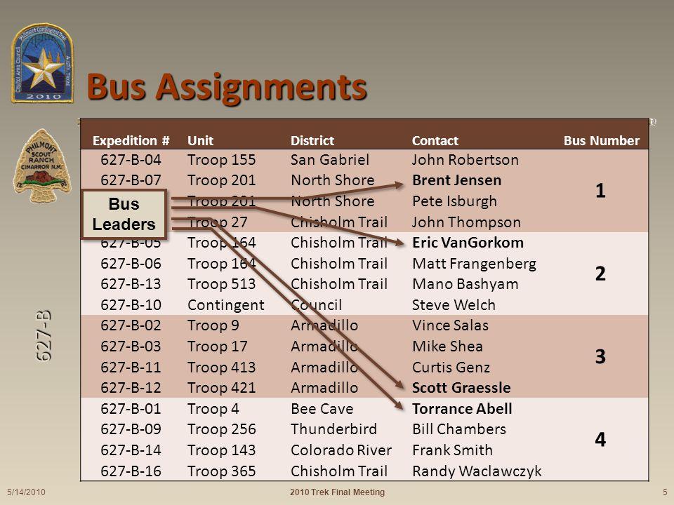 627-B Expedition #UnitDistrictContact Bus Number 627-B-04Troop 155San GabrielJohn Robertson 1 627-B-07Troop 201North ShoreBrent Jensen 627-B-08Troop 2