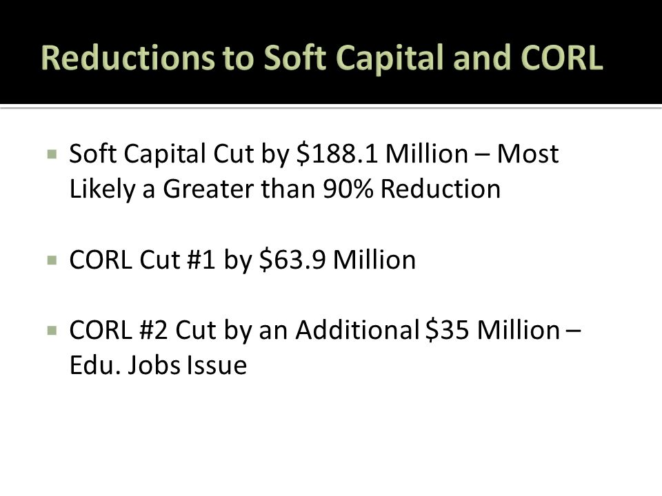 Soft Capital Cut by $188.1 Million – Most Likely a Greater than 90% Reduction  CORL Cut #1 by $63.9 Million  CORL #2 Cut by an Additional $35 Million – Edu.