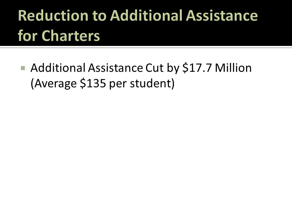  Additional Assistance Cut by $17.7 Million (Average $135 per student)