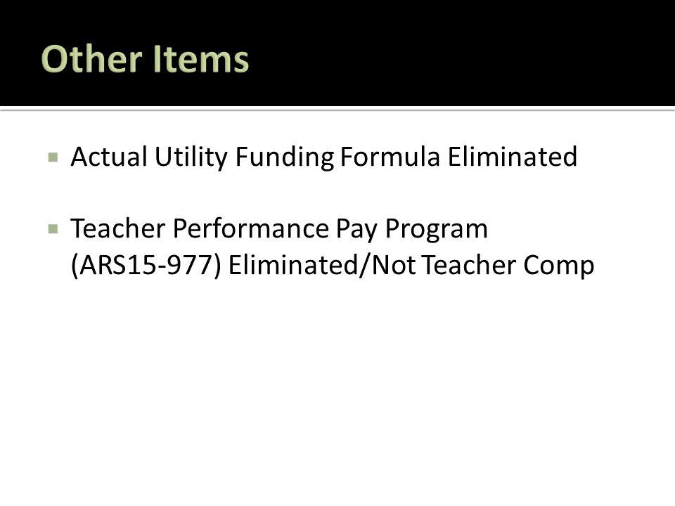  Actual Utility Funding Formula Eliminated  Teacher Performance Pay Program (ARS15-977) Eliminated/Not Teacher Comp