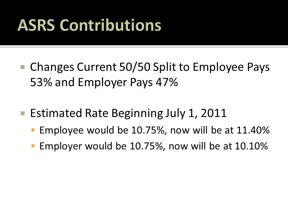 Changes Current 50/50 Split to Employee Pays 53% and Employer Pays 47%  Estimated Rate Beginning July 1, 2011  Employee would be 10.75%, now will be at 11.40%  Employer would be 10.75%, now will be at 10.10%