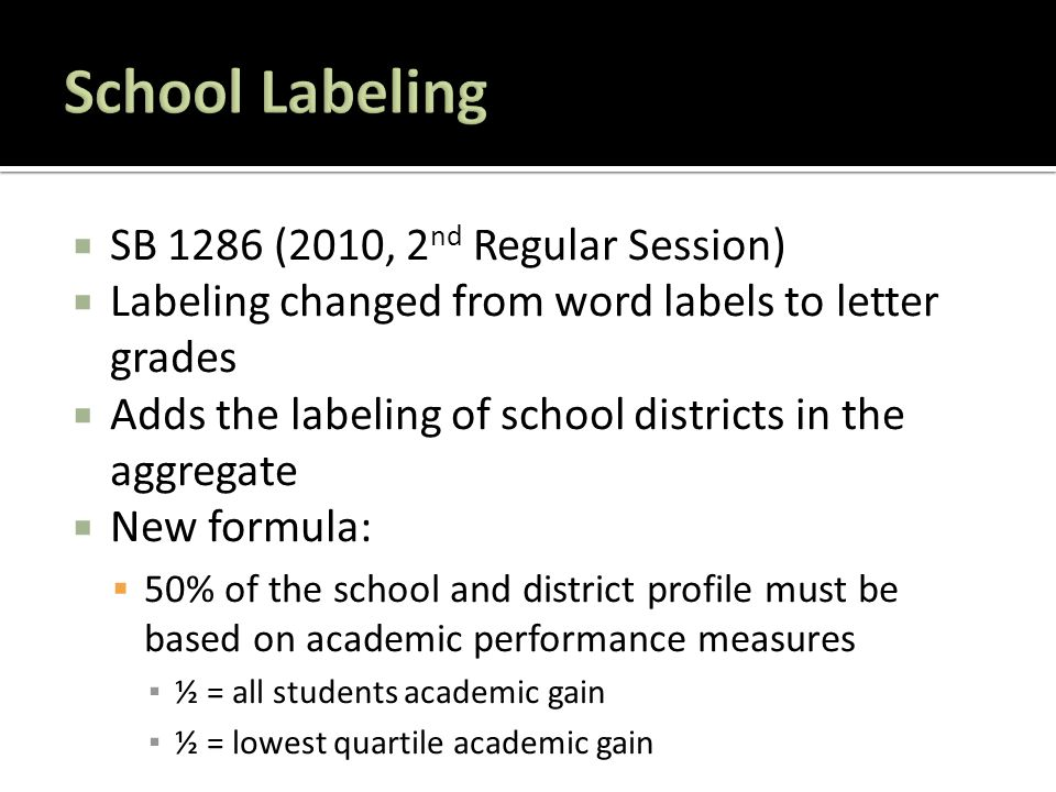  SB 1286 (2010, 2 nd Regular Session)  Labeling changed from word labels to letter grades  Adds the labeling of school districts in the aggregate  New formula:  50% of the school and district profile must be based on academic performance measures ▪ ½ = all students academic gain ▪ ½ = lowest quartile academic gain