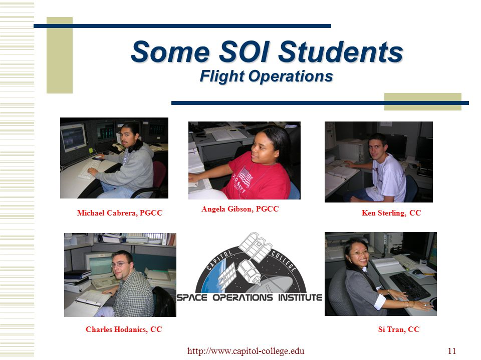 http://www.capitol-college.edu11 Some SOI Students Flight Operations Michael Cabrera, PGCCKen Sterling, CC Angela Gibson, PGCC Charles Hodanics, CCSi Tran, CC