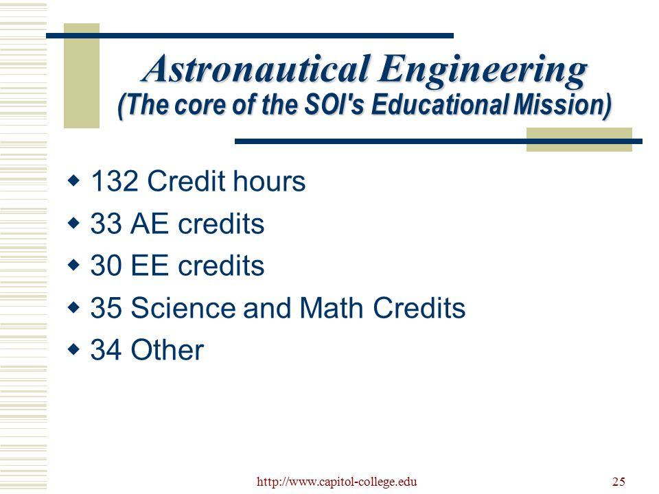 http://www.capitol-college.edu25 Astronautical Engineering (The core of the SOI's Educational Mission)  132 Credit hours  33 AE credits  30 EE cred
