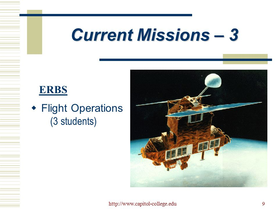 http://www.capitol-college.edu10 Current Missions - 4  Flight Operations (2 Students) TRMM