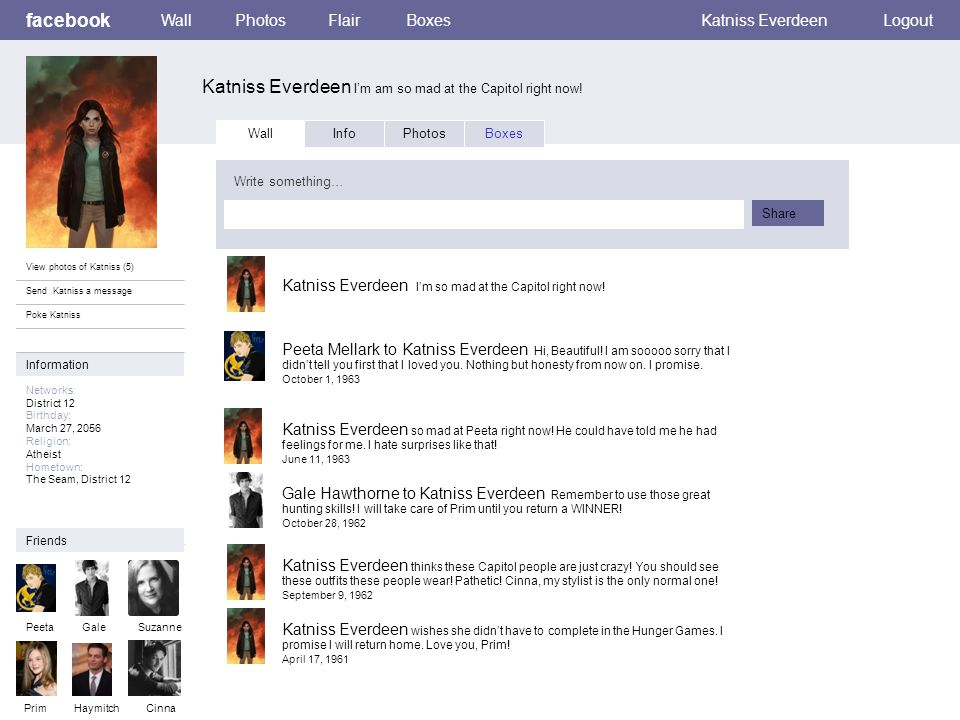 Personal Information facebook Katniss Everdeen I am so mad at the Capitol right now.