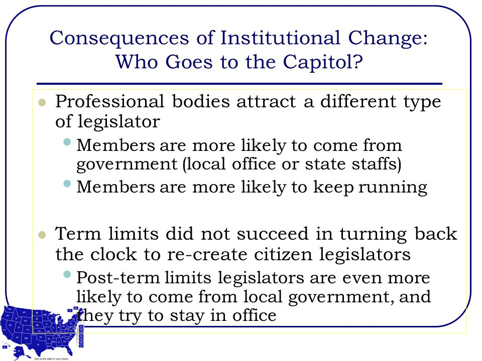 Consequences of Institutional Change: Who Goes to the Capitol.