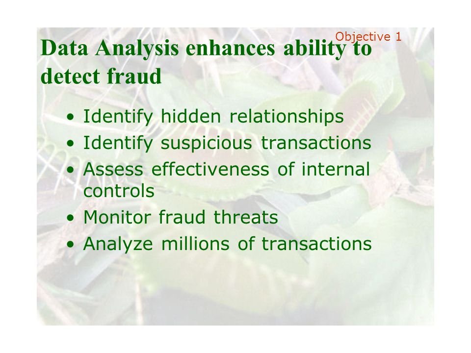 Slide 18 Joint meeting of the RDU IIA and ISACA chapters November 11, 2008, Capitol Club, Raleigh, NC Data Analysis enhances ability to detect fraud Identify hidden relationships Identify suspicious transactions Assess effectiveness of internal controls Monitor fraud threats Analyze millions of transactions Objective 1