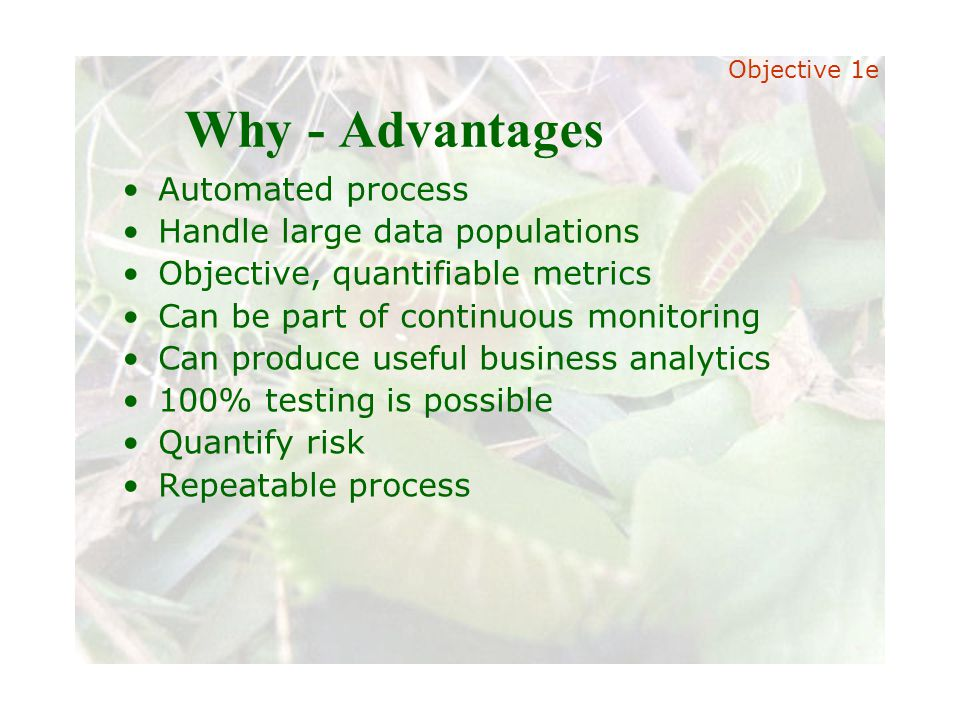 Slide 24 Joint meeting of the RDU IIA and ISACA chapters November 11, 2008, Capitol Club, Raleigh, NC Why - Advantages Automated process Handle large data populations Objective, quantifiable metrics Can be part of continuous monitoring Can produce useful business analytics 100% testing is possible Quantify risk Repeatable process Objective 1e