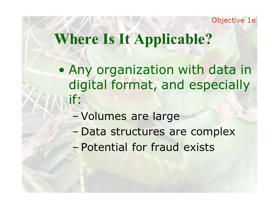 Slide 27 Joint meeting of the RDU IIA and ISACA chapters November 11, 2008, Capitol Club, Raleigh, NC Where Is It Applicable? Any organization with da