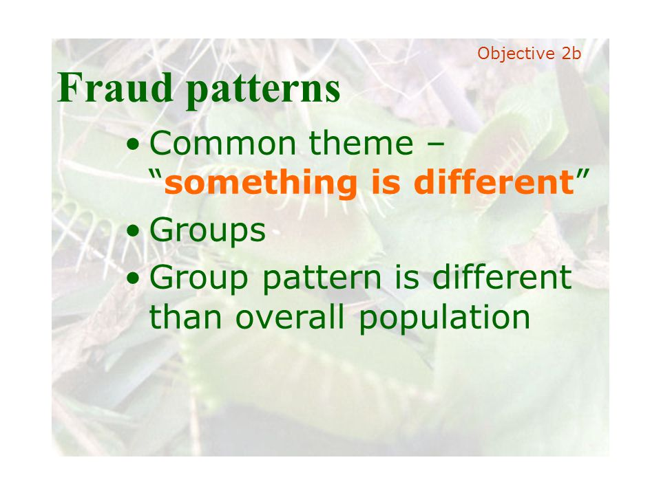 """Slide 35 Joint meeting of the RDU IIA and ISACA chapters November 11, 2008, Capitol Club, Raleigh, NC Fraud patterns Common theme – """"something is diff"""