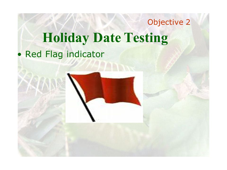 Slide 62 Joint meeting of the RDU IIA and ISACA chapters November 11, 2008, Capitol Club, Raleigh, NC Holiday Date Testing Red Flag indicator Objectiv