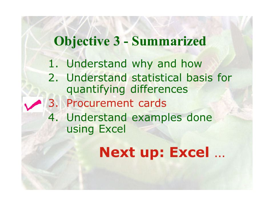 Slide 72 Joint meeting of the RDU IIA and ISACA chapters November 11, 2008, Capitol Club, Raleigh, NC Objective 3 - Summarized 1.Understand why and how 2.Understand statistical basis for quantifying differences 3.Procurement cards 4.Understand examples done using Excel Next up: Excel …