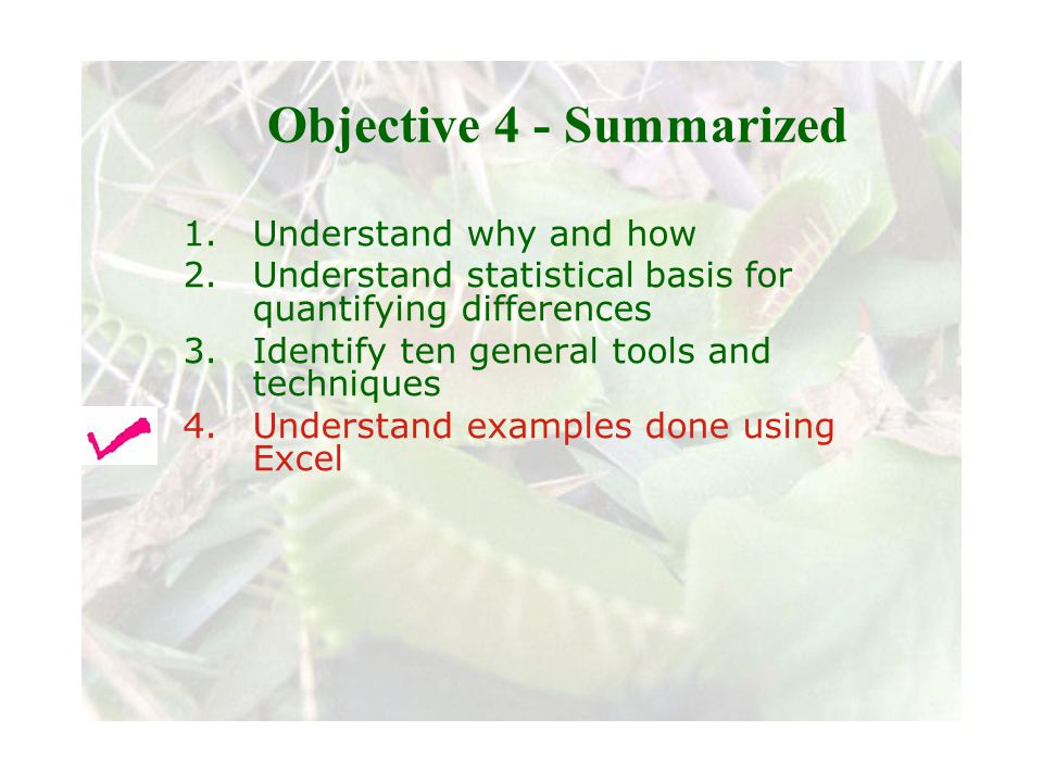 Slide 80 Joint meeting of the RDU IIA and ISACA chapters November 11, 2008, Capitol Club, Raleigh, NC Objective 4 - Summarized 1.Understand why and how 2.Understand statistical basis for quantifying differences 3.Identify ten general tools and techniques 4.Understand examples done using Excel