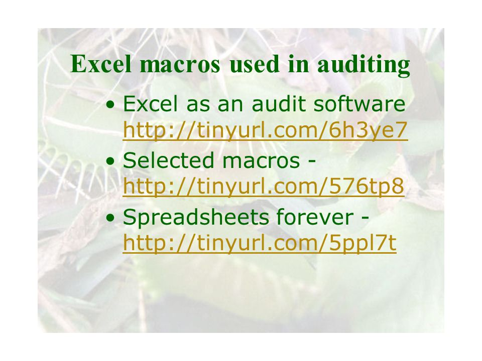 Slide 83 Joint meeting of the RDU IIA and ISACA chapters November 11, 2008, Capitol Club, Raleigh, NC Excel macros used in auditing Excel as an audit