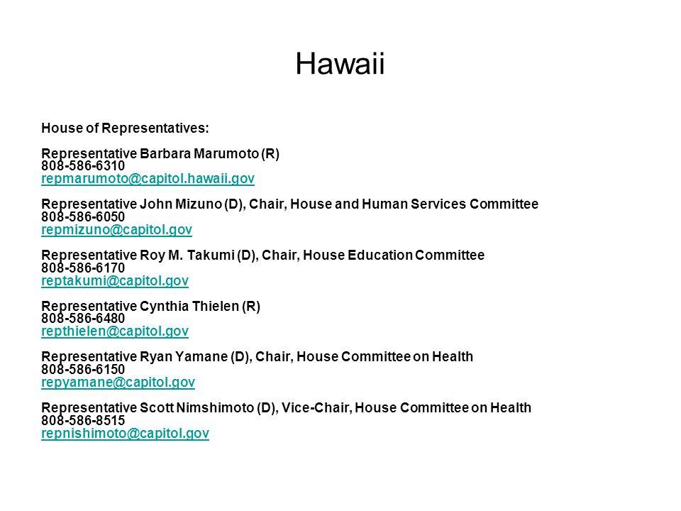 House of Representatives: Representative Barbara Marumoto (R) 808-586-6310 repmarumoto@capitol.hawaii.gov Representative John Mizuno (D), Chair, House and Human Services Committee 808-586-6050 repmizuno@capitol.gov Representative Roy M.