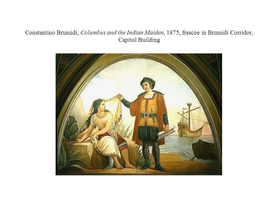 Constantino Brumidi, Columbus and the Indian Maiden, 1875, frescoe in Brumidi Corridor, Capitol Building