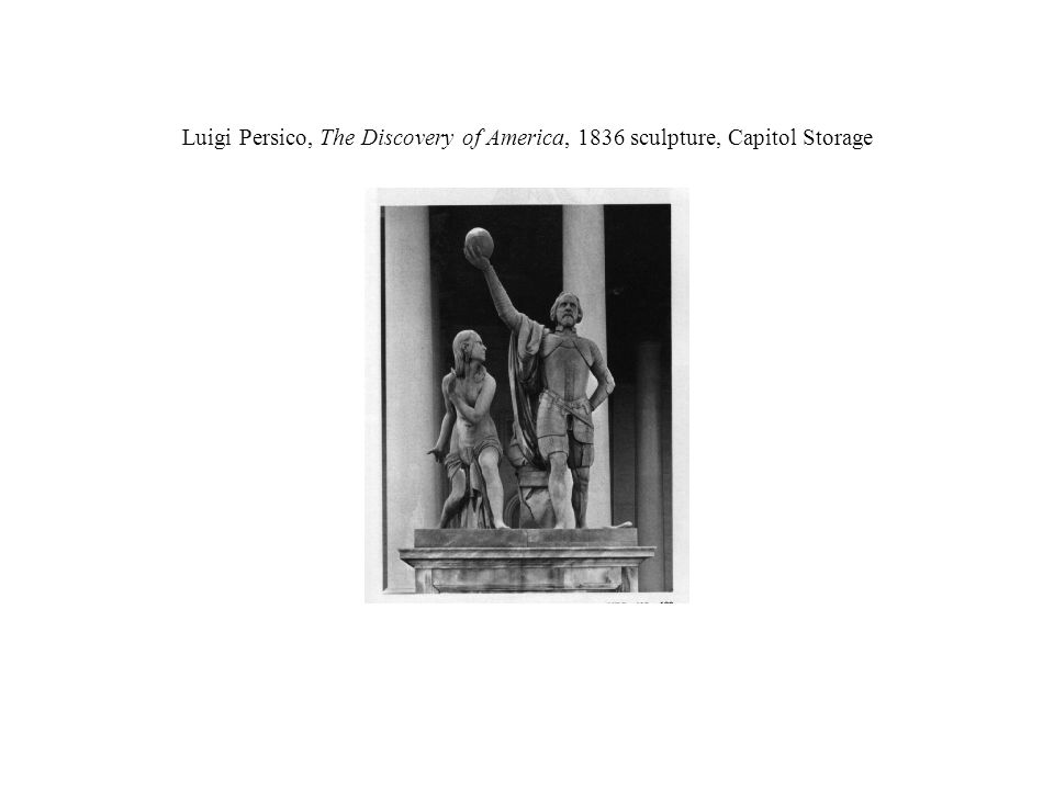 Luigi Persico, The Discovery of America, 1836 sculpture, Capitol Storage