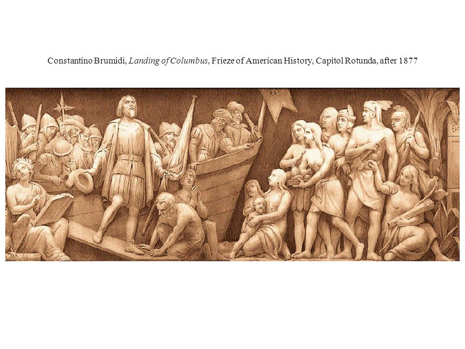 Constantino Brumidi, Landing of Columbus, Frieze of American History, Capitol Rotunda, after 1877