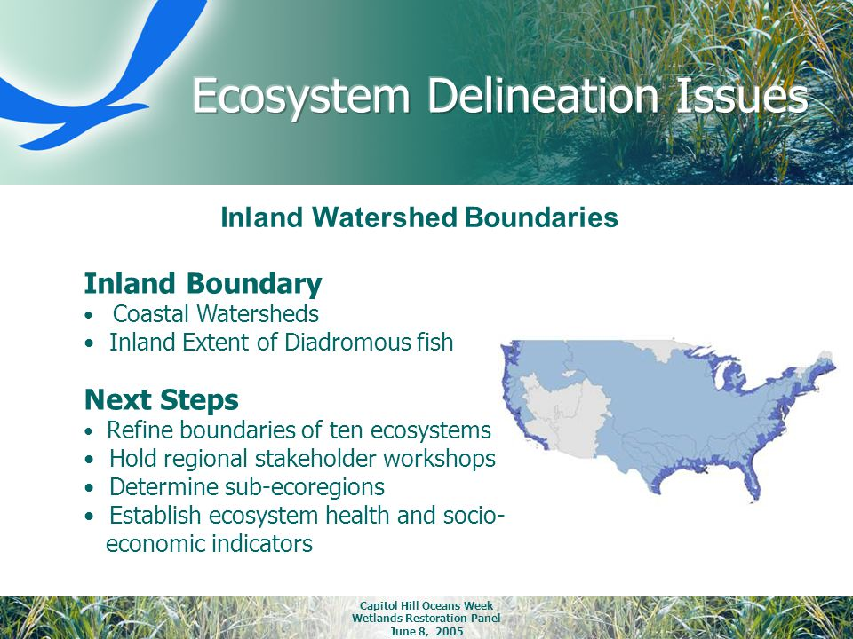 Capitol Hill Oceans Week Wetlands Restoration Panel June 8, 2005 Inland Watershed Boundaries Inland Boundary Coastal Watersheds Inland Extent of Diadr