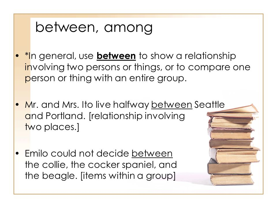 between, among *In general, use between to show a relationship involving two persons or things, or to compare one person or thing with an entire group.