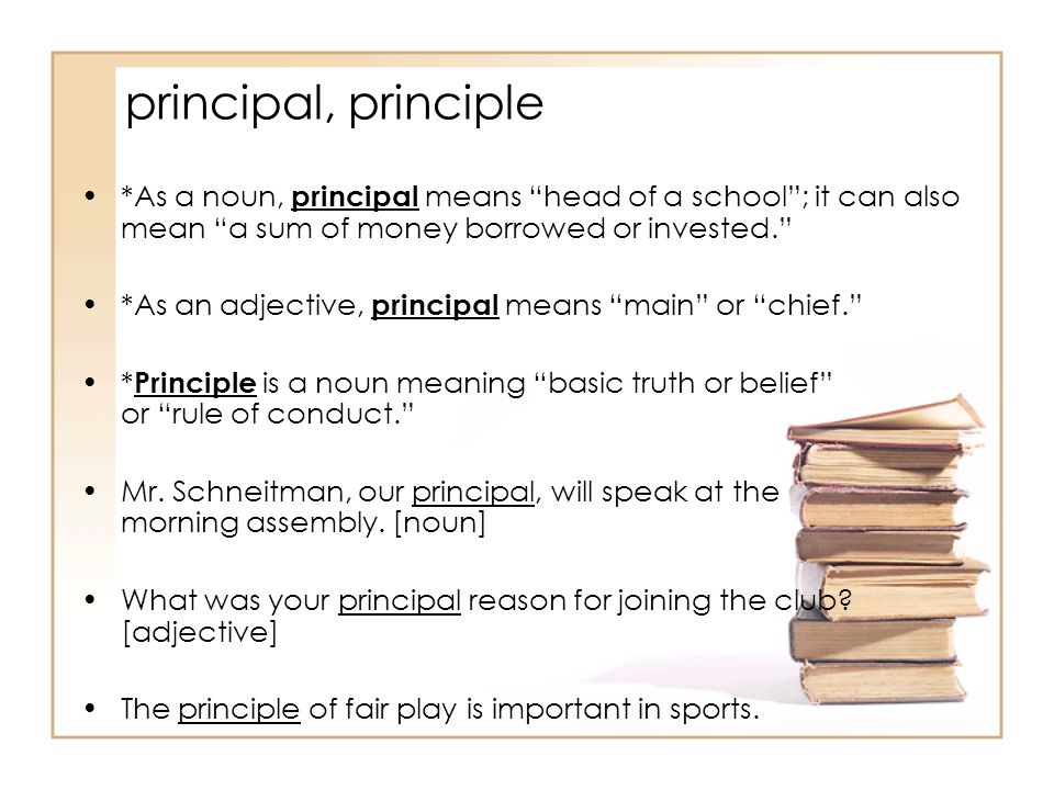 principal, principle *As a noun, principal means head of a school ; it can also mean a sum of money borrowed or invested. *As an adjective, principal means main or chief. * Principle is a noun meaning basic truth or belief or rule of conduct. Mr.