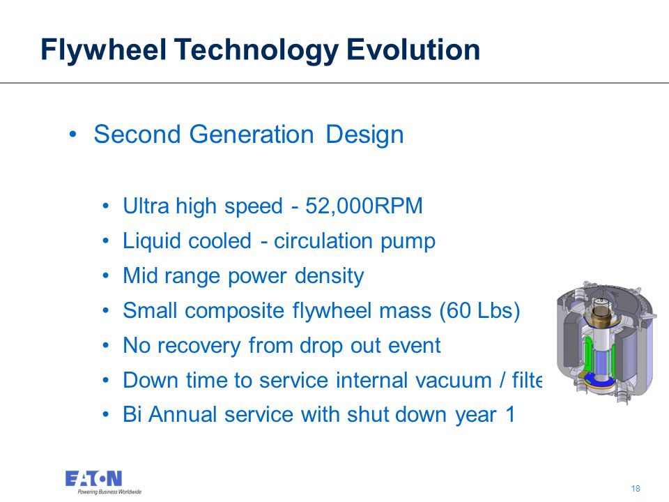 18 Second Generation Design Ultra high speed - 52,000RPM Liquid cooled - circulation pump Mid range power density Small composite flywheel mass (60 Lbs) No recovery from drop out event Down time to service internal vacuum / filter Bi Annual service with shut down year 1 Flywheel Technology Evolution