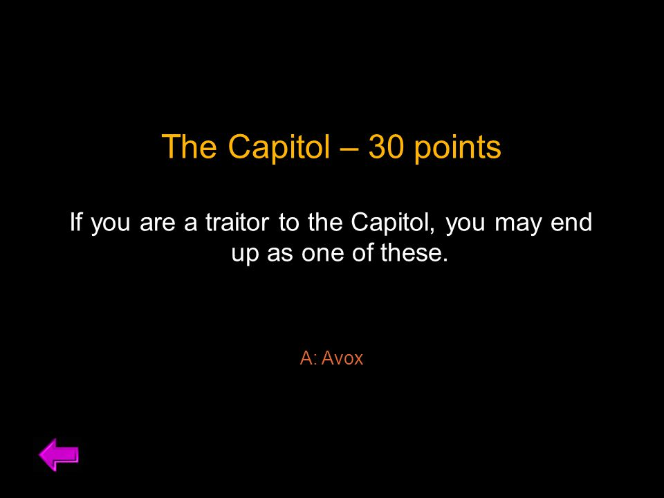 The Capitol – 30 points If you are a traitor to the Capitol, you may end up as one of these.