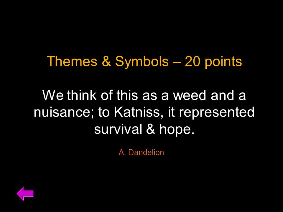 Themes & Symbols – 30 points What do the woods symbolize for Katniss and Gale.