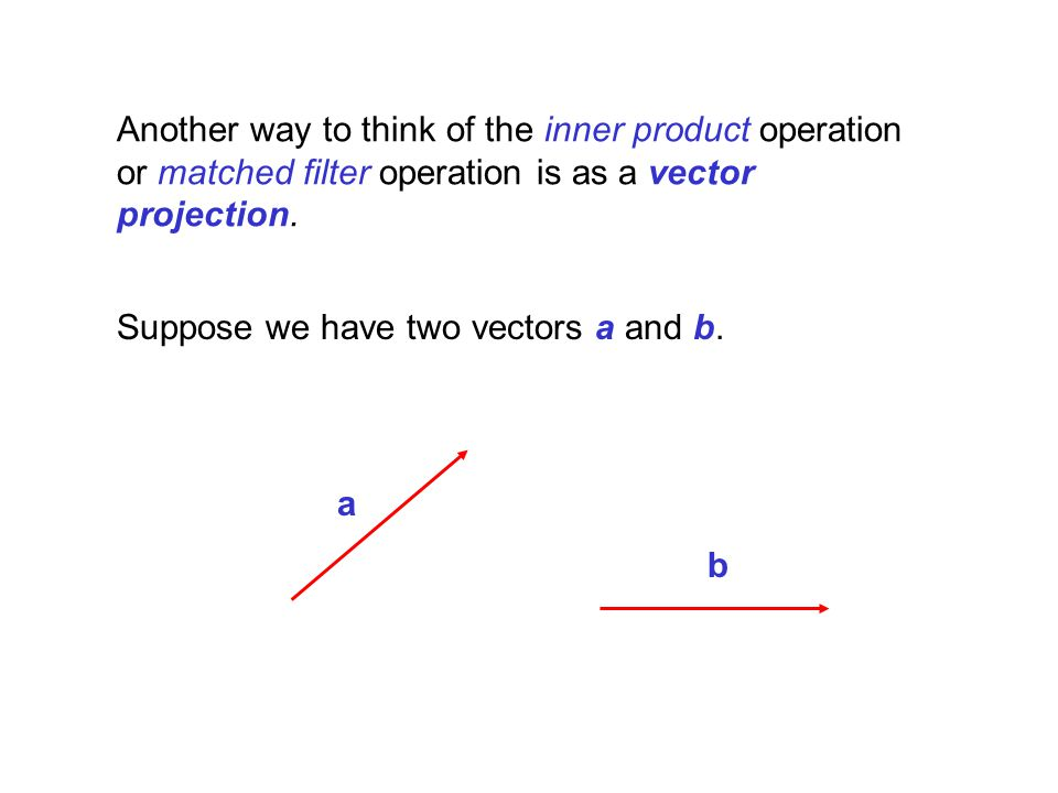 The projection of a onto b is the shadow a casts on b from sunlight directly above. a b