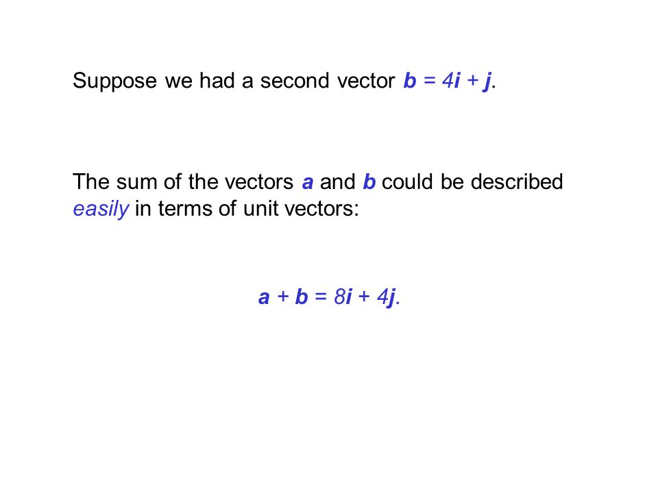 Suppose we had a second vector b = 4i + j. The sum of the vectors a and b could be described easily in terms of unit vectors: a + b = 8i + 4j.