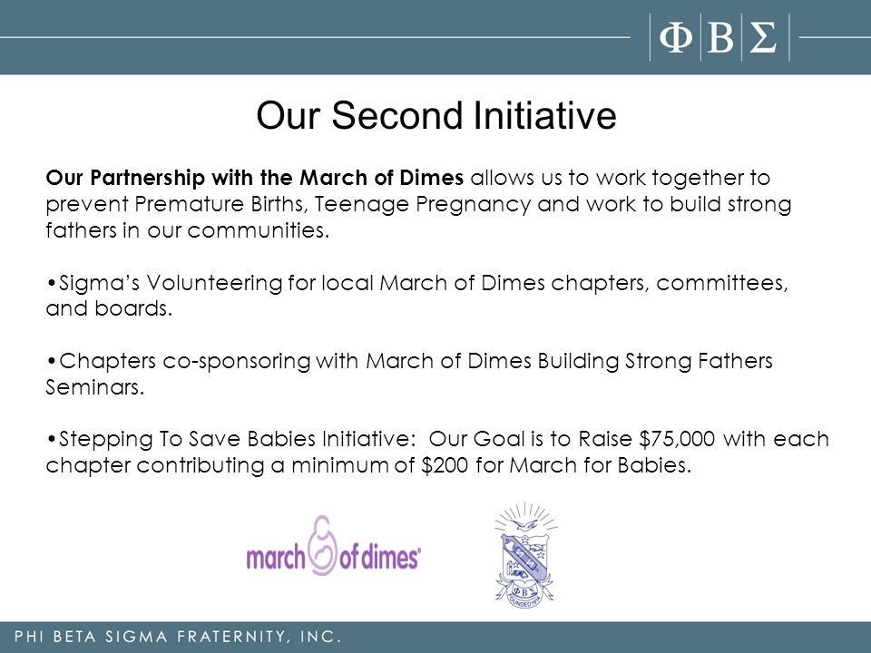 Our Partnership with the March of Dimes allows us to work together to prevent Premature Births, Teenage Pregnancy and work to build strong fathers in our communities.