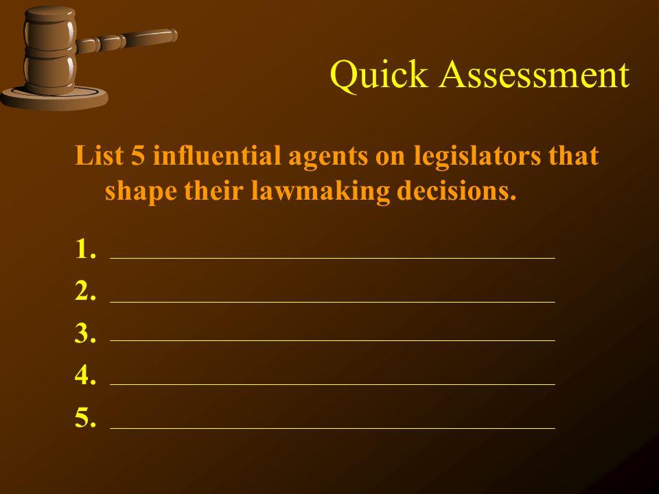 Quick Assessment List 5 influential agents on legislators that shape their lawmaking decisions. 1. 2. 3. 4. 5.