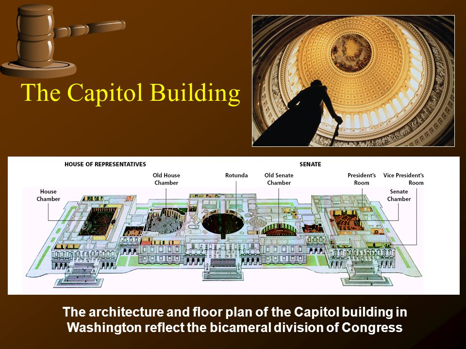The Capitol Building The architecture and floor plan of the Capitol building in Washington reflect the bicameral division of Congress