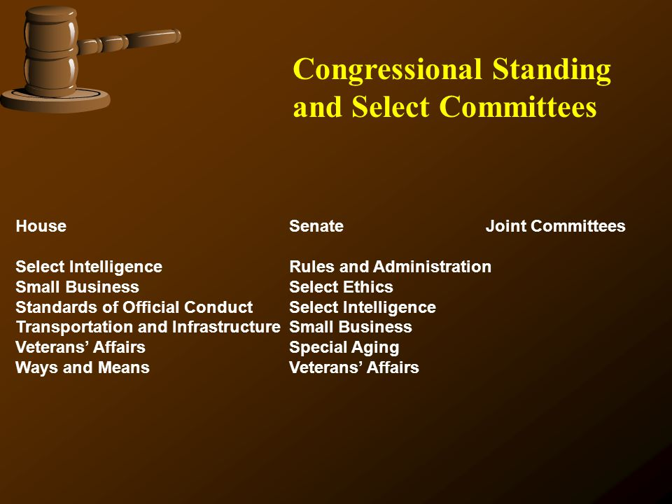 House SenateJoint Committees Select Intelligence Rules and Administration Small Business Select Ethics Standards of Official Conduct Select Intelligen